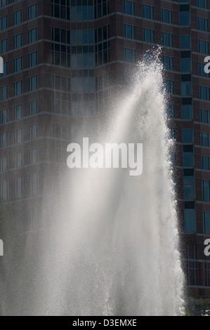 Messeturm Frankfurt am Main, Detail, Architektur, Architecture, Fountain, Water, Trade Fair, - Stock Photo