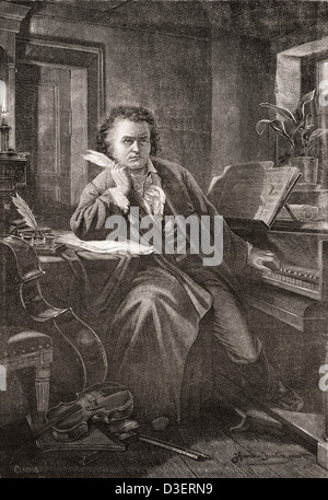 Ludwig van Beethoven, 1770 - 1827. German composer and pianist. - Stock Photo