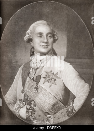 Louis XVI, 1754 –1793, after the painting by Duplessis. Louis XVI, King of France and Navarre. - Stock Photo