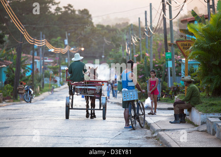 Street scene in Viñales, small town in the north-central Pinar del Río Province of Cuba, Caribbean - Stock Photo