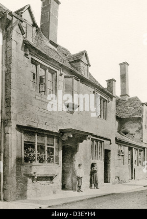 A collotype plate entitled ' Cottages at Chipping Campden, Glos.' scanned at high resolution from a book published - Stock Photo