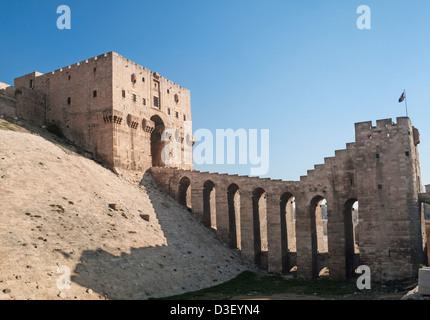 aleppo ancient citadel in syria - Stock Photo