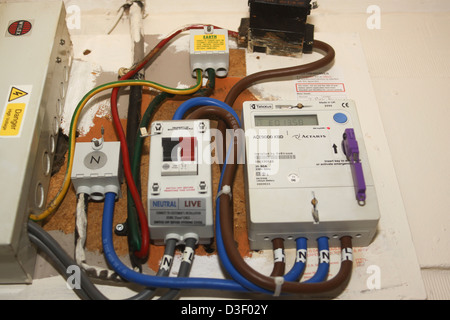 UK prepay key electricity meter and distribution equipment - Stock Photo