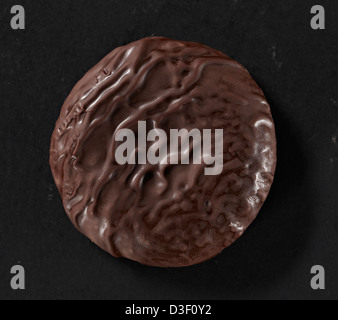 Chocolate covered cookie biscuit close up - Stock Photo
