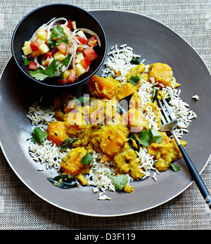 Goan Pumpkin curry with salsa rojal - Stock Photo
