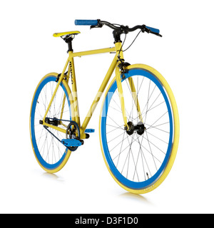 Single speed bicycle yellow blue custom build - Stock Photo