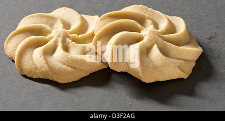 Two Viennese shortbread biscuit swirl - Stock Photo