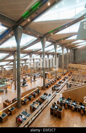 Interior of Main Reading Room of Bibliotheca Alexandrina (Library of Alexandria), Egypt - Stock Photo
