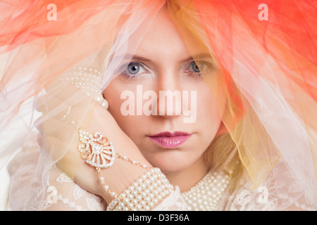 Beautiful woman with pearls - Stock Photo