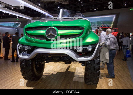 New Mercedes Benz Unimog  car at the IAA International Motor Show for Commercial Vehicles 2012. Hannover, Germany - Stock Photo
