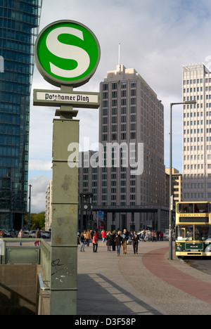 Berlin, Germany, S-Bahn sign Potsdamer Platz - Stock Photo