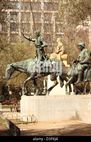 Madrid Sapin statue of Don Quixote and Sancho Panza in Plaza de Espana in the city centre - Stock Photo