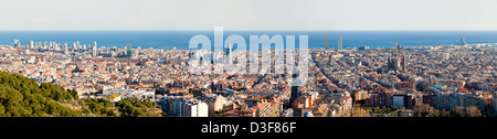 Aerial Panorama of Barcelona with High Detail - Stock Photo