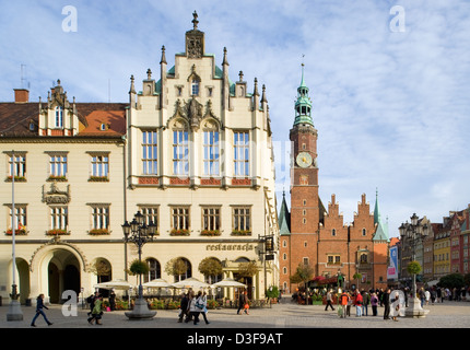 Wroclaw (Breslau), Poland, the west side of the ring with Wroc_aw City Hall - Stock Photo