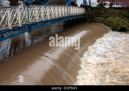 Mill Bridge and River Leam with flood water, Leamington Spa, UK - Stock Photo