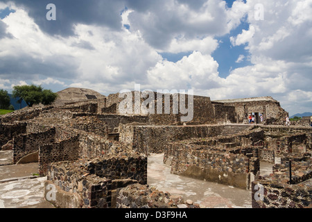 Quetzalpapalotl Palace, Palace of the Jaguar with Pyramid of the Moon in background. Teotihuacan, Mexico - Stock Photo