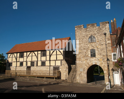 West Gate and Tudor Merchants Hall part of the Medieval Walls of Southampton Hampshire England UK - Stock Photo