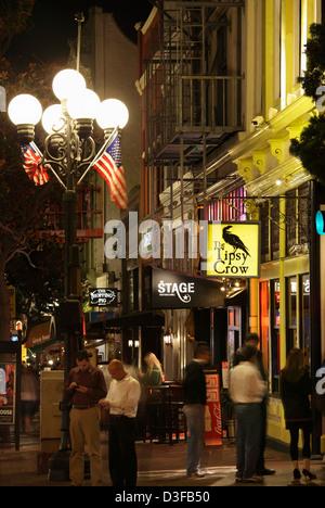 Nightlife in the Gaslamp Quarter, San Diego, California, USA - Stock Photo