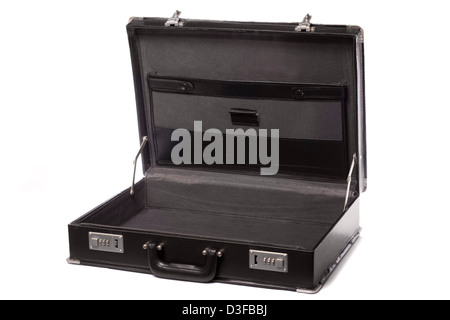 Close up view a modern black business briefcase isolated on a white background. - Stock Photo