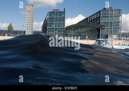 Berlin, Germany, waves in front of the main station of the Spree - Stock Photo