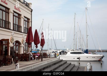 Warnemuende, Germany, yachts in the harbor of the hotel marina Hohe Duene - Stock Photo