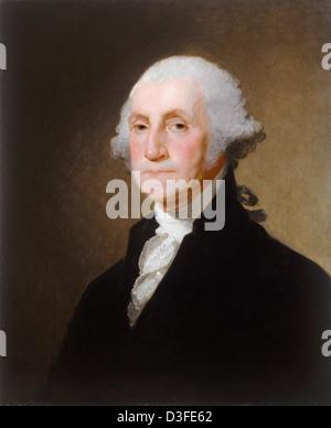 Gilbert Stuart (American, 1755 - 1828 ), George Washington, c. 1821, oil on wood - Stock Photo
