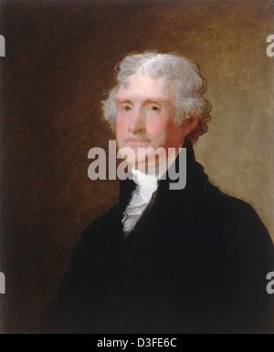 Gilbert Stuart, Thomas Jefferson, American, 1755 - 1828, c. 1821, oil on wood - Stock Photo