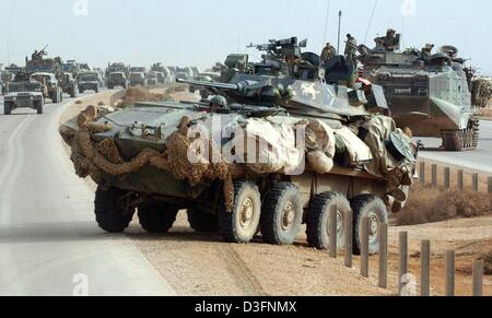 (dpa) - A Light LAV tank of the 3rd Light Amoured Reconnaissance Battalion (3rd LAR) joines the column of army vehicles - Stock Photo