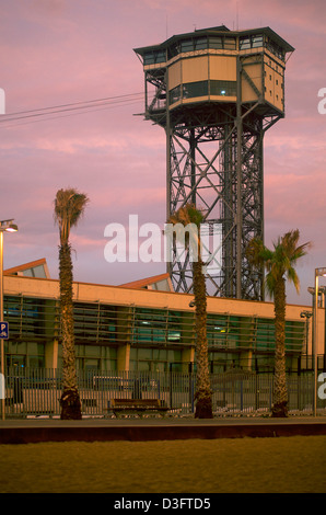 One of the Barcelona cable car towers at dawn - Stock Photo