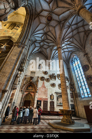 The interior of Ulm Minster in Germany, a Gothic church begun in the 14th century and currently the tallest church in the world.