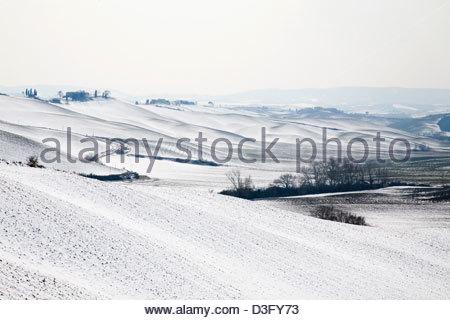 snowy landscape,crete senesi,tuscany,italy - Stock Photo