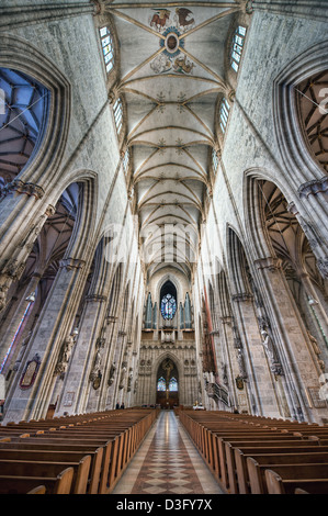The interior of Ulm Minster in Germany a Gothic church begun in the 14th century is currently the tallest church in the world.