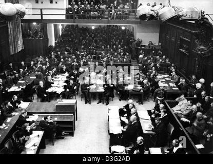 (dpa files) - A view over the courtroom at the opening of the Nuremberg Trials, in the palace of justice in Nuremberg, - Stock Photo