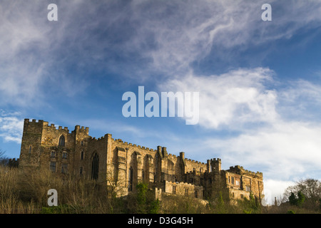 Durham Castle, a Norman built 'Motte and Bailey' style castle from the River Wear. The castle is now used by Durham - Stock Photo