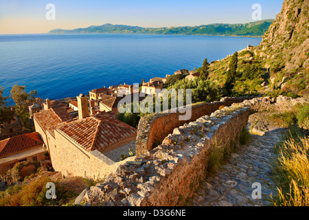 Arial view of Monemvasia Byzantine Island catsle town with acropolis on the plateau. Peloponnese, Greece - Stock Photo