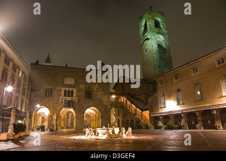 Bergamo - piazza vecchia at night - Stock Photo