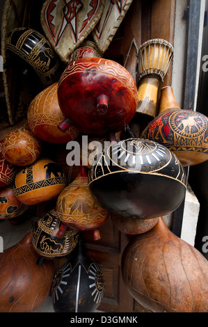 Calabashes in a Souvenir shop, Old Town, Mombasa, Kenya - Stock Photo