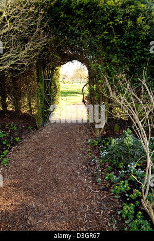 an open gate leading into a garden uk stock photo. Black Bedroom Furniture Sets. Home Design Ideas