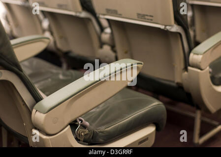 Madrid, Spain. 18th February 2013. Iberia interior cabine with pàssengers affected by new Iberia strike workers. - Stock Photo