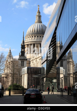 St Paul's Cathedral reflected in office buildings in the City of London England UK GB - Stock Photo