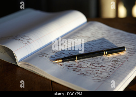 open journal notebook and fountain pen - Stock Photo