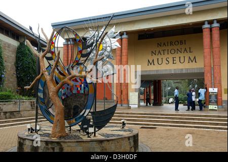 Entrance of the Nairobi National Museum, Nairobi, Kenya - Stock Photo