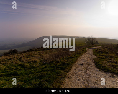 Early morning in the South Downs National Park, Sussex, England, UK,  taken from the summit of Ditchling Beacon - Stock Photo