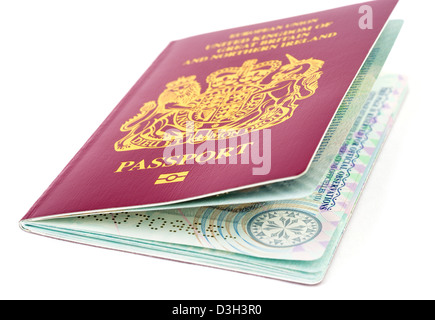 A 2013 European Union biometric passport for the United Kingdom - Stock Photo