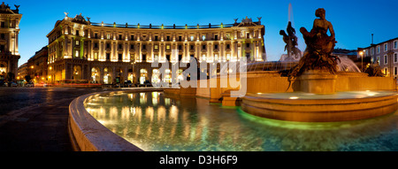 Panoramic view of Piazza della Repubblica, Rome Italy - Stock Photo