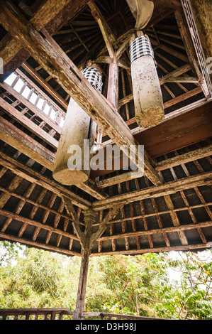 Wooden bell in hindu temple Pura Taman Ayun, Mengwi, Bali, Indonesia - Stock Photo