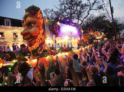 Feb. 10, 2013 - New Orleans, LOUISIANA, UNITED STATES - The crowds cheer for beads as a float in the Krewe of Bacchus Parade rolls through the streets in New Orleans, Louisiana USA on February 10, 2013.  Mardi Gras festivities will be happening all weekend long culminating with Fat Tuesday on February 12,  2013. (Credit Image: © Dan Anderson/ZUMAPRESS.com) Stock Photo