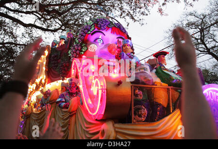 Feb. 10, 2013 - New Orleans, LOUISIANA, UNITED STATES - A float in the Krewe of Bacchus Parade rolls through the streets in New Orleans, Louisiana USA on February 10, 2013.  Mardi Gras festivities will be happening all weekend long culminating with Fat Tuesday on February 12,  2013. (Credit Image: © Dan Anderson/ZUMAPRESS.com) Stock Photo
