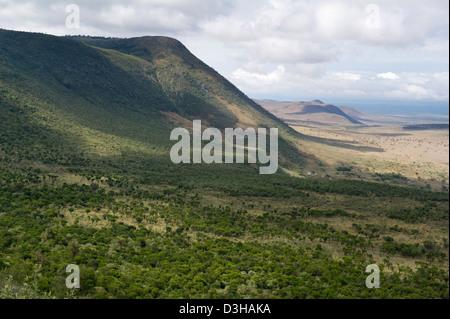 View of the Rift Valley escarpment on the Escarpment Road, Kenya - Stock Photo