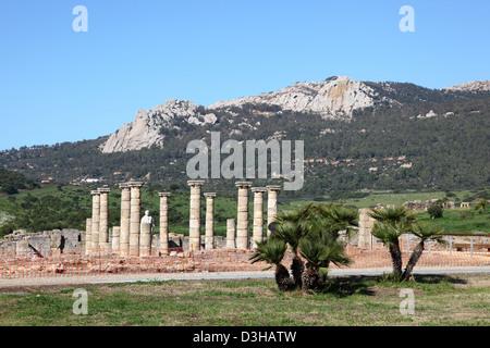 Roman ruins Baleo Claudia near village Bolonia, Andalusia, southern Spain - Stock Photo